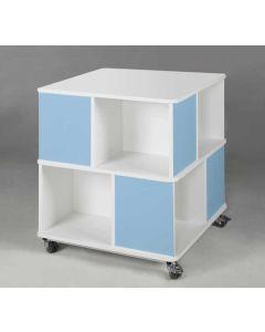 Quadratischer Bücherturm, 2 Ebenen | Korpus Weiß - Front Hellblau