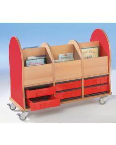 """Bücherwagen Leseratte """"Midi"""" mit 6 Fächern und 6 M-InBoxen"""