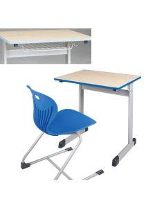 Einer-Schülertisch Modell T mit Drahtkorbablage, Größe: 75 x 65 cm