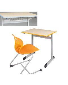 Einer-Schülertisch Modell T mit Drahtkorbablage, Größe: 70 x 55 cm