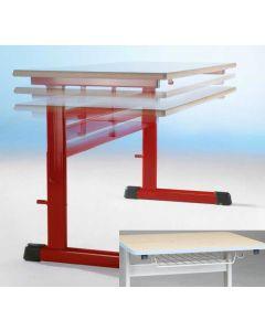 Einer-Schülertisch Modell TH mit Drahtkorbablage, höhenverstellbar 64 - 82 cm, Größe: 70 x 55 cm