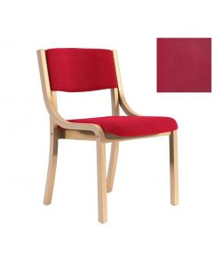 Holzstuhl Kalo, Holz Buche, Kunstleder Rot