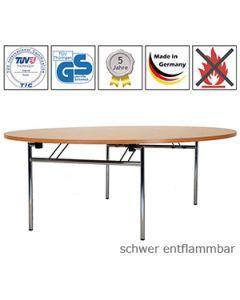Klapptisch RONDO mit schwer entflammbarer Tischplatte (B1)