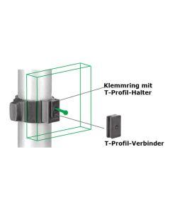 Klemmring für Ø 50 mm mit T-Profil-Halter, 2er-Set