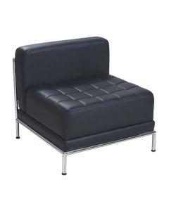 Loungesitz Louton mit Rückenlehne - Kunstleder Schwarz | Gestellfarbe Chrom