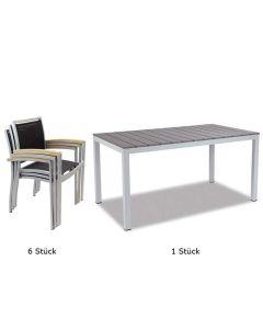 Outdoorset Tirano, 1 x Tisch Liezen 140 x 80 cm, 6 x Stühle Tirano