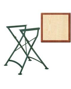 Outdoortisch, Werzalit Tischplatte, 70 x 70 cm, Harmony, Nostalgiegestell grün