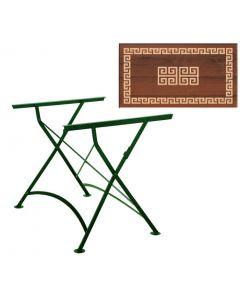 Outdoortisch, Werzalit Tischplatte, 140 x 80 cm, Studioart, Nostalgiegestell grün