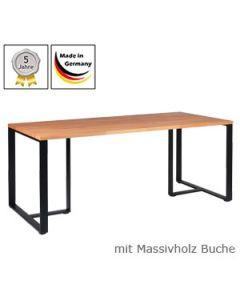 Schreibtisch Modell D mit Massivholzplatte Buchenholz