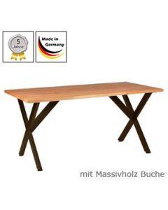 Schreibtisch Modell X mit Massivholzplatte Buchenholz