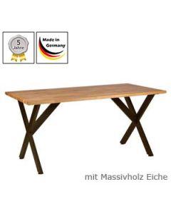 Schreibtisch Modell X mit Massivholzplatte Eichenholz