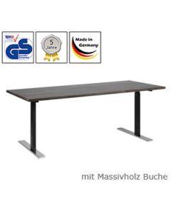Schreibtisch Timo, mit Massivholzplatte Buchenholz