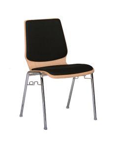 Stapelstuhl Domo, Sitz und Rücken gepolstert, Buche - Schwarz - Chrom, feste Reihenverbinder
