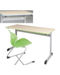 Zweier-Schülertisch Modell T mit Drahtkorbablage, Größe: 130 x 55 cm